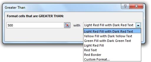 Conditional Formatting در اکسل - پنجره تعیید شرط و فرمت روی داده ها