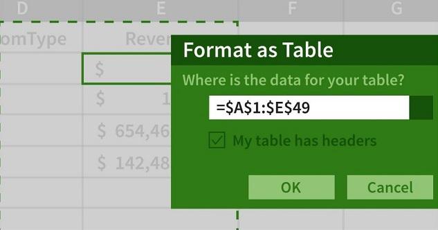 جدول در اکسل