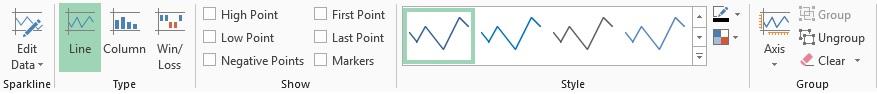 اجزای تنظیمات نمودار Sparkline