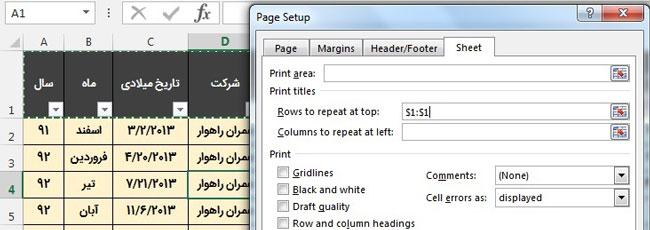 تکرار ردیف سر ستون در همه صفحات پرینت