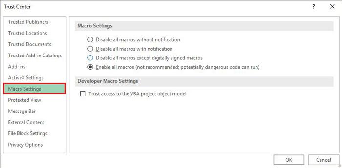 صفحه تنظیمات امنیتی ماکرو در اکسل
