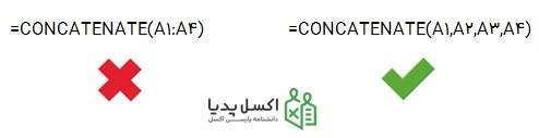 نحوه صحیح تخصیص آرگومان ها در تابع Concatenate