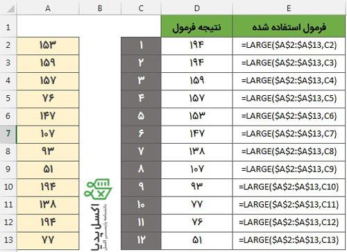 مرتب کردن اعداد از کوچک به بزرگ-تابع Large با ستون کمکی