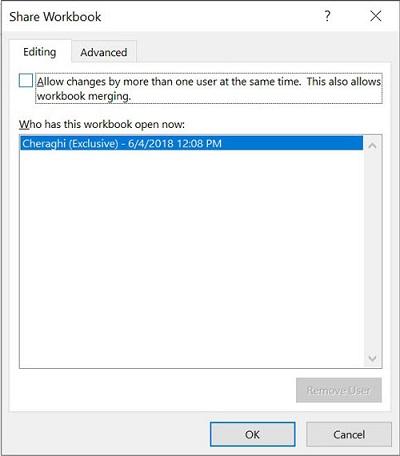 خارج کردن فایل از حالت Share