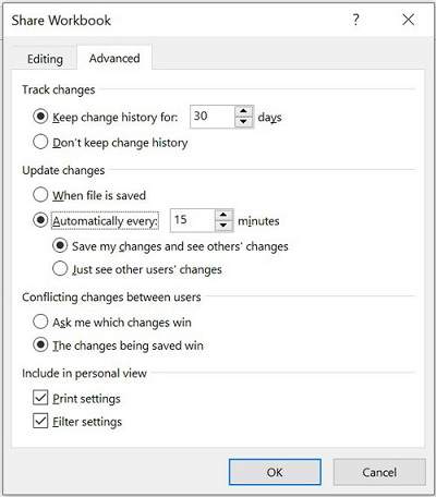 تنظیمات به اشتراک گذاری فایل