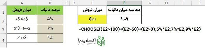 جستجوی بازه ای و اعمال محاسبات متنوع با Choose