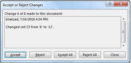 پنجره نمایش تغیر اعمال شده بر روی یک سلول برای رد یا پذیرش