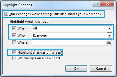 تعیین تنظیمات مربوط به ردگیری تغییرات