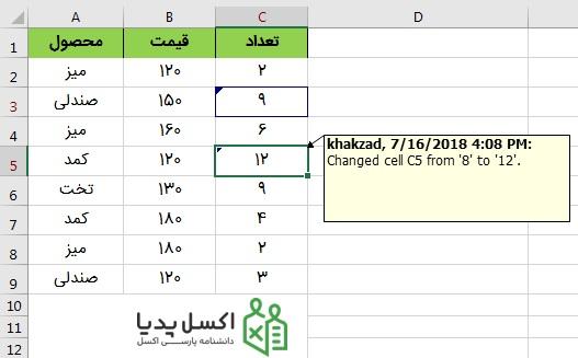 نمایش تغییرات اعمال شده بر روی محتوای سلول ها