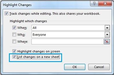 تنظیمات مربوط به ایجاد شیت تغییرات