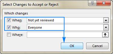 پنجره تنظیمات مربوط به رد یا پذیرش تغییرات