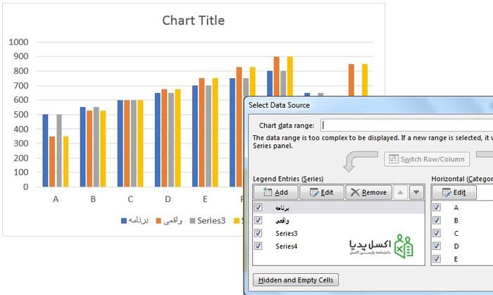 اضافه کردن مجدد محدوده داده واقعی و برنامه ای به نمودار