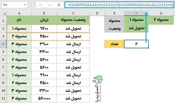 """شمارش شرطی در اکسل- با منطق """"و"""" و """"یا"""""""