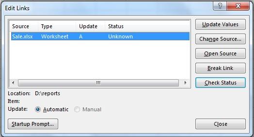 پنجره نمایش لینک های استفاده شده در یک فایل