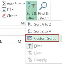 انتخاب داده ها و گزینه Custom Sort