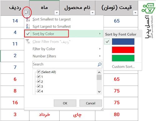 مرتب کردن داده ها بر اساس رنگ فونت از قسمت filter