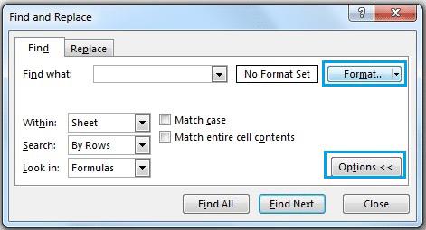 انتخاب Format از ابزار Find