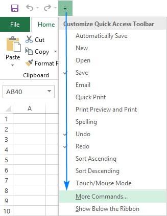 اضافه کردن گزینه های مورد نظر به منوی Quick Access