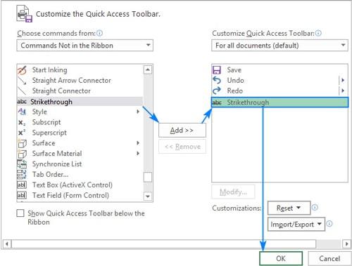 اضافه کردن دکمه Strikethrough به نوار Quick Access