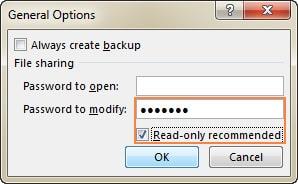 تعیین پسورد باز شدن فایل و تغییر فایل