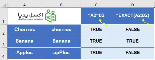 مقایسه داده متنی با عملگر منطقی و تابع Exact