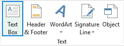 اضافه کردن text box از تب insert