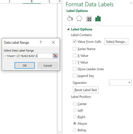 تنظیمات Format Data Labels