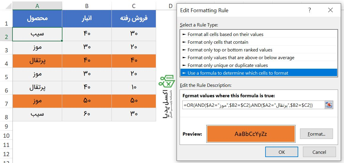 فرمت دهی شرطی و ترکیب توابع منطقی