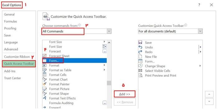 اضافه کردن ابزار Form به Quick Access Ribbon