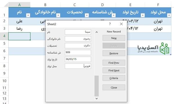 ورود اطلاعات از طریق فرم در اکسل
