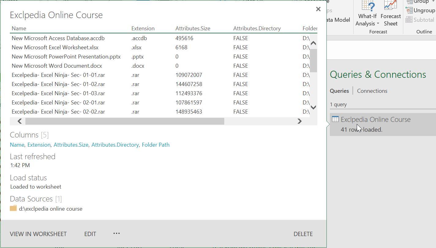 دسترسی به کوئری های نوشته شده و ویرایش آنها جهت ایجاد لیست فایل های یک پوشه