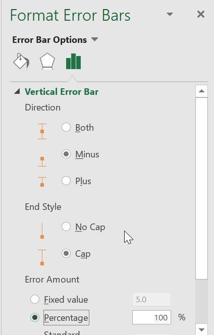 انجام تنظیمات مربوط به نمایش error bar
