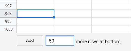 اضافه کردن ردیف در گوگل شیت