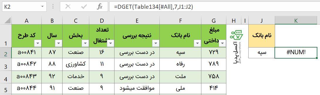 توابع بانک اطلاعاتی-تابع Dget و خطای NUM