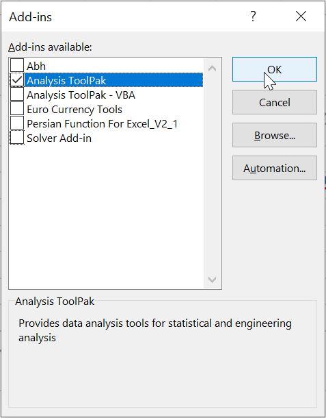 اضافه کردن افزونه Analysis Toolpak