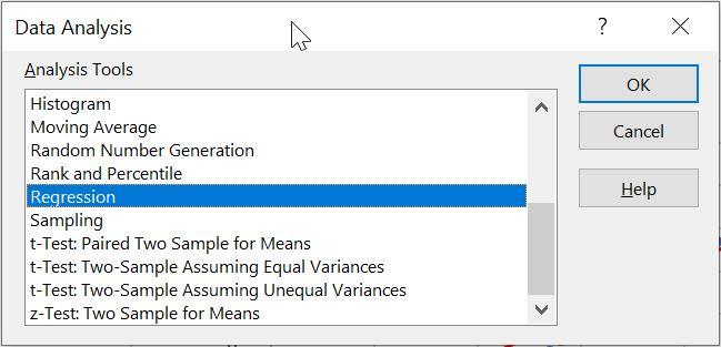 انتخاب ابزار رگرسیون از افزونه Data Analysis