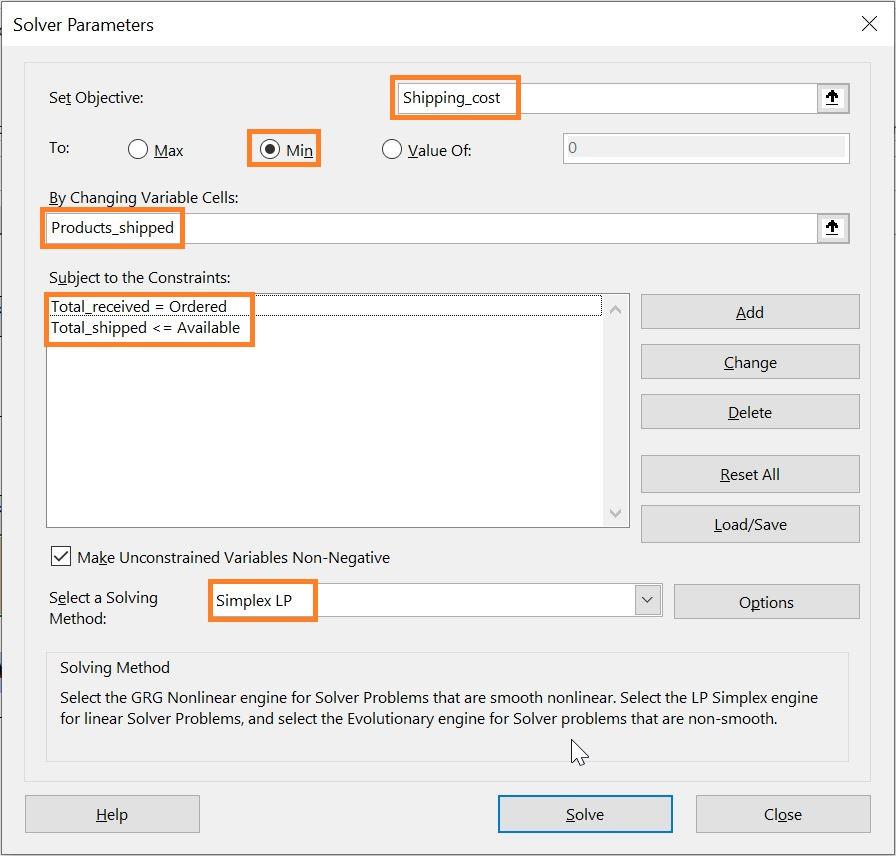 تعیین پارامترهای مدل در افزونه Solver