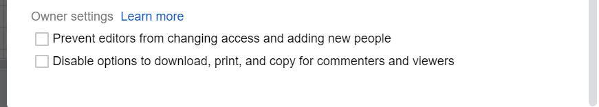 گوگل شیت- تنظیمات پیشرفته برای صاحب فایل