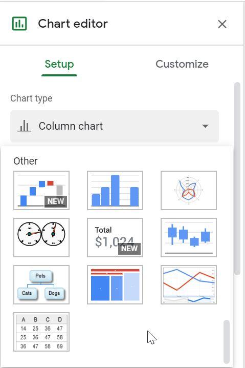 نمودارهای جدید در گوگل شیت