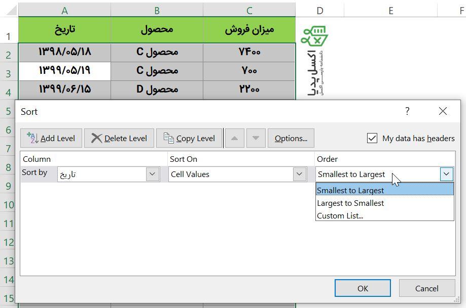 مرتب کردن داده های تاریخ با جنس عدد با استفاده از ابزار Sort